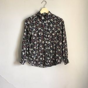 Topshop Floral Petite Button Down Shirt